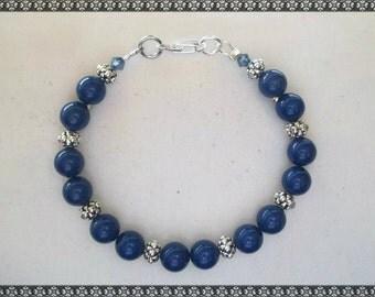 Swarovski bracelet, blue bracelet, blue & sivler bracelet, swarovski, blue