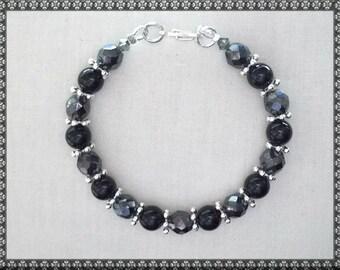 black bracelet, hematite, Swarovski bracelet, black crystal, swarovski, hematite bracelet