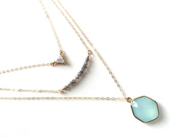Layered Necklace Set, Aqua Chalcedony Layered Necklaces, CZ Triangle Necklace, cz Layering Necklace, Labradorite Bar Necklace