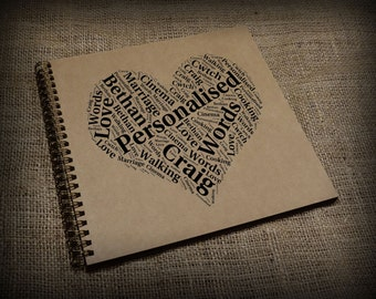 Personalised Scrapbook, Photo Album, Guest Book, Word Art, Typography Cloud, Custom Made, Customised, Wedding Gift/Present, Square