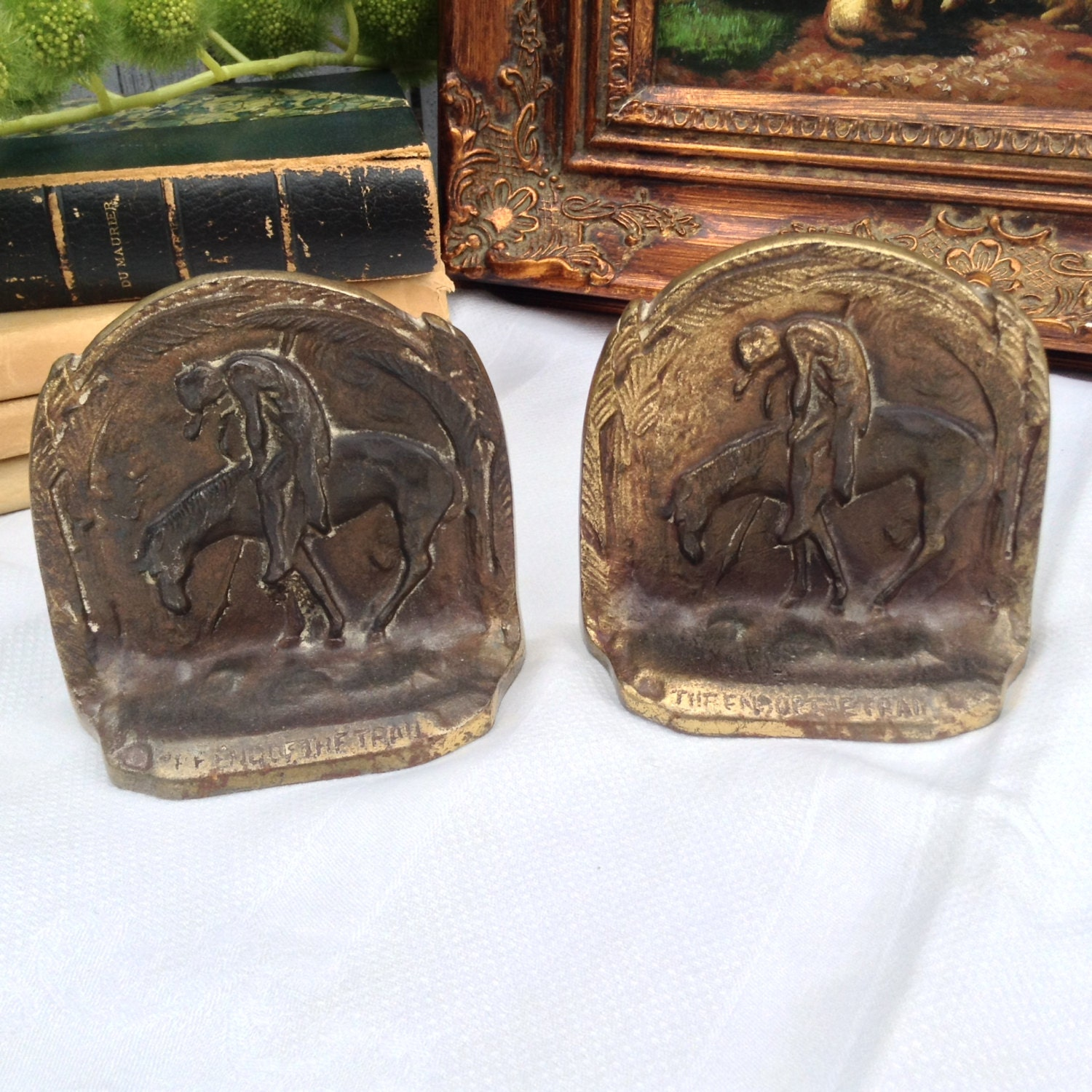 Antique brass bronze bookends the end of the trail horse and - Antique brass bookends ...