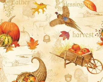 Autumn Song Blessing by Red Rooster Fabric, 100% Premium Cotton by the Yard