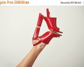Red sandals - red leather sandals - red strappy sandals - peep toe sandals - heeled sandals - sandals shoes - womens sandals