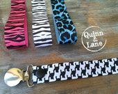 Universal Pacifier Clips YOU CHOOSE - Soothie MAM Nuk Gumdrop Soother Clips - Pacifier Holders - Animal Prints