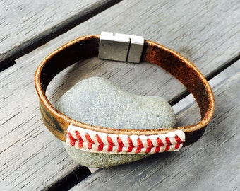 Mens baseball and mitt magnetic cuff bracelet