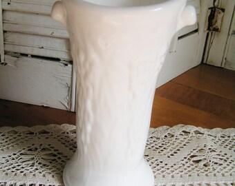 SALE 50% Off -- Vintage Ivory Color Imperial Glass Vase Hard to Find Tree Design Wedding Vase Mid Century Woodland Vase Rustic Vase