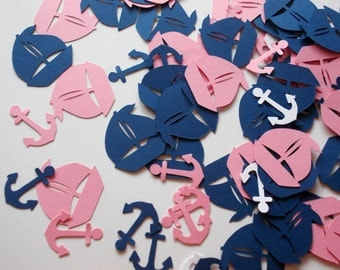 Nautical Party Decorations, Sailboat Confetti, Anchor,  Pink & Navy Blue Sailboat Cutouts, Birthday Party, Baby Shower, Table Decor, 100 Ct.