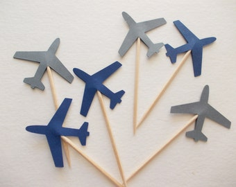 24 Airplane Party Picks, Navy Blue & Gray Airplane Cupcake Toppers, Plane Theme, Birthday Party, Party Decoration