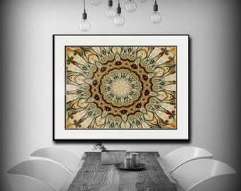 Mandala Art -Large Giclee Print in Earth tones and teal, from Original oil painting, loft decor, large art work, Boho chic by Heidi Vaught