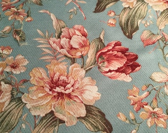 Decorator Floral Heavy Cotton Upholstery Fabric, 1 yd.