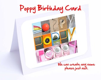 Poppy Personalised Birthday Card