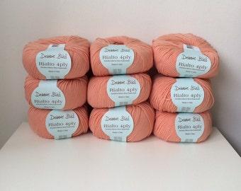 9 x 50g Debbie Bliss Rialto 4 ply wool yarn 100% extra fine merino wool peach Melba 40
