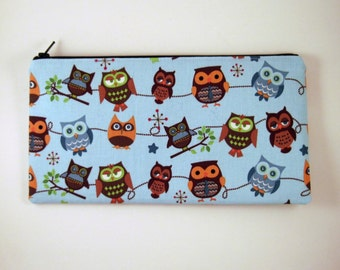 Blue Owl Zipper Pouch, Pencil Pouch, Make Up Bag, Gadget Bag