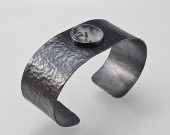 Oxidized Sterling Silver Cuff Bracelet - Hammered Cuff Bracelet - Dendritic Chalcedony Cabochon Cuff - Mens Cuff - Art Metal - Artisan Cuff