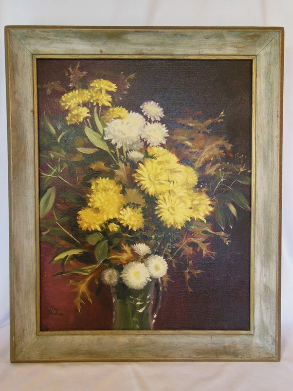 Roy Perham Fall Flowers Oil Painting on Canvas Signed Autumn Harvest Bouquet circa 1950-1960