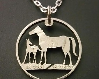 Horse Mare and Colt coin jewelry pendant cut from a Kennedy half dollar handmade