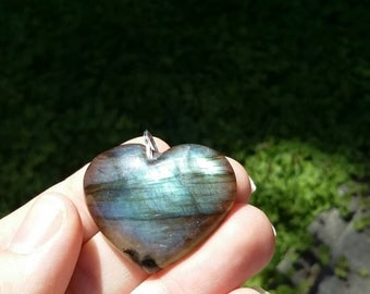 Labradorite heart pendant necklace.