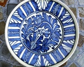 Romanian Transylvanian Hungarian Korond Decorative Corund Plate in Blue White Cream Colors