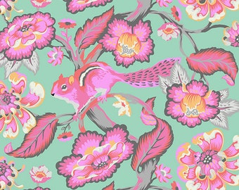 Tula Pink Fabric, Tula Pink chipper - Chipper Collection Chipmunk - Free Spirit PWTP078 Sorbet - Priced by the Half yard