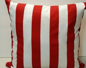 Labor Day Memorial Day 4th of July Patriotic  Veterans Day American US Flag Canopy Red Vertical Stripes Decorative Indoor Throw Pillow Cover