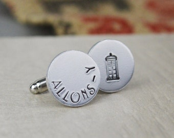 Allons-y Cuff Links Doctor Who - Hand Stamped Gift