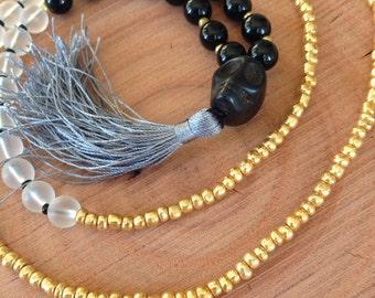 Gold Beaded Necklace, Black Onyx Yoga Necklace, Black Skull Mala Necklace, Grey Tassel Necklace, Beaded Black Necklace, Gray Tassel Necklace