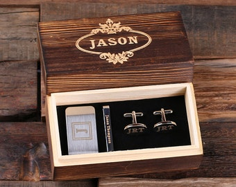 Personalized Gentleman's Gift Set Cuff Links, Money Clip, Tie Clip Groomsmen, Father's Day and Dad Men Boyfriend Christmas (025276)