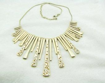 Gold & Crystal Bib Necklace Fringe Necklace Drop Necklace Statement Necklace Boho Party Necklace Big Necklace High Fashion Necklace
