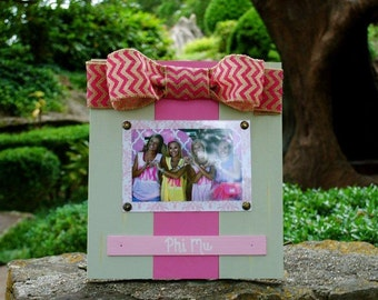 Phi Mu Large Bow Table Top Frame with Burlap Ribbon