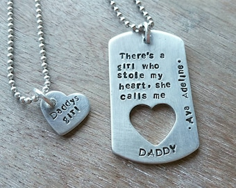 Fathers Day Gift - Personalized Daddy Daughter Necklace - Mens Family Necklace - Custom Fathers Necklace - Gift for Dad