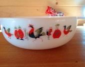 "1960's Rare JAJ Pyrex "" Fowl Play"" large serving dish- 3 pint size"