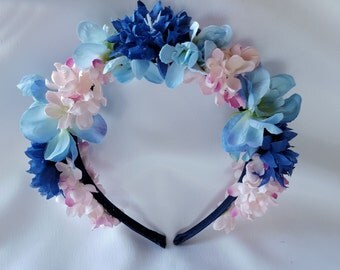 Floral Head Band - Blue & Pink Flowers, Floral Crown, Alice Band with Flowers for Wedding