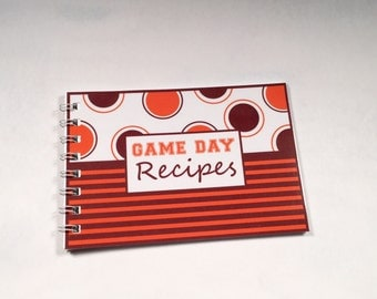 Game Day Recipe Book blank cards maroon orange stripes polka dots