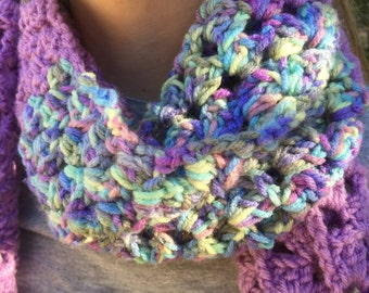 Crochet Scarf with Pompoms