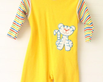 Vintage baby boy romper. Mustard Yellow romper with striped sleeves and a cat on the chest. Carters sz 6 mo