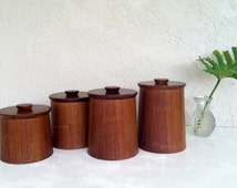 Vintage s/4 TEAK Canister Set by GLADMARK of Sun Valley CA. Danish Modern, Eames Era, 60's-70's Kitchen decor/Retro Mid Century Fab!