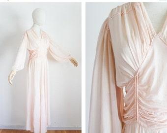 40% OFF SALE 1940s pale pink chiffon dress / vintage / size xs small / Clouds of Gossamer Dress