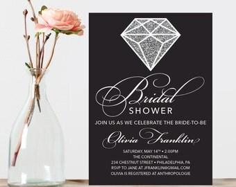 Diamond Bridal Shower Invite - Wedding Shower Invite - Printable Shower Invitation - Bling - Glitter Bridal Shower - Diamond Ring