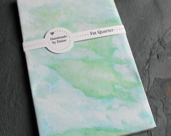 Green Aqua Watercolour Effect Fat Quarter - Hand Dyed Fabric, Marbled Cool Seafoam Surf Soft Mint Leaf Moss Cyan Aqua Quilting Cotton, 3264