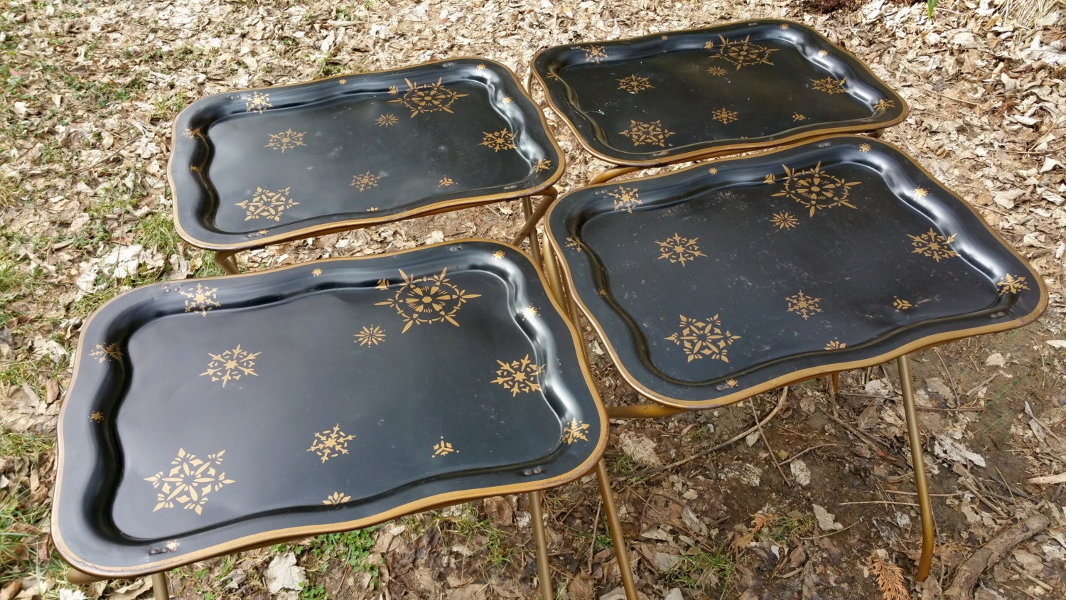 Metal TV Tray Tables Set Of Four With Stand Black Gold Atomic Design By  GladStoneatHome On