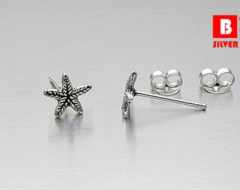925 Sterling Silver Oxidized Earrings, Starfish Earrings, Stud Earrings (Code : K12K)