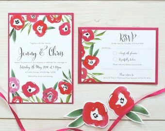 Passion Bloom Wedding Invitation and RSVP, Personalised Wedding Stationery, Invite, Summer Wedding