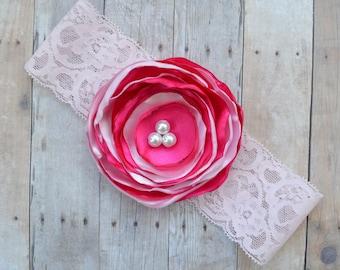 Pink baby headband lace, Pink baby headband, flower headband, girls lace headband