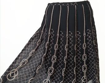 HALF PRICE Chinese Vintage Skirt / Black Printed Skirt /  High Waist Skirt / Pleated Skirt / Secretary Skirt / Summer Skirt / Size S M