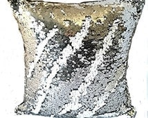 New handmade cushion cover Mermaid Reversible Sequin Fishscale Shiny SILVER WHITE Cushion 16 x 16 inch