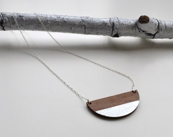 Semi Circle Contemporary Walnut Wood and Silver Leaf Necklace with Silver Chain - half circle necklace - semicircle wooden necklace
