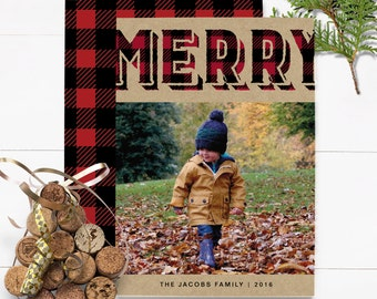 Buffalo Plaid Christmas Card - Merry Christmas Card - Custom Christmas Card - Printed Christmas Card - Photo Christmas Card - Rustic Card