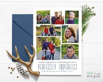 Perfectly Imperfect Custom Photo Holiday Card - Custom Christmas - Non-Denominational Card - Printable Christmas Card - Photo Collage Card