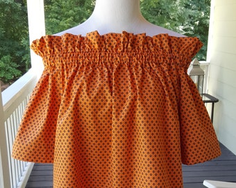 sample sale womens derby top in orange with navy paw prints size xlarge only