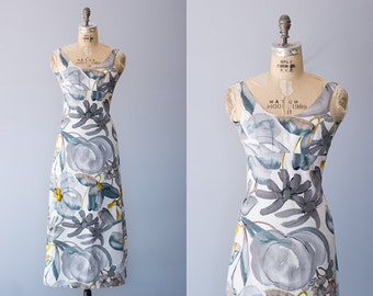 WATERCOLOR dress | 1960s grey and blue maxi with watercolor floral print